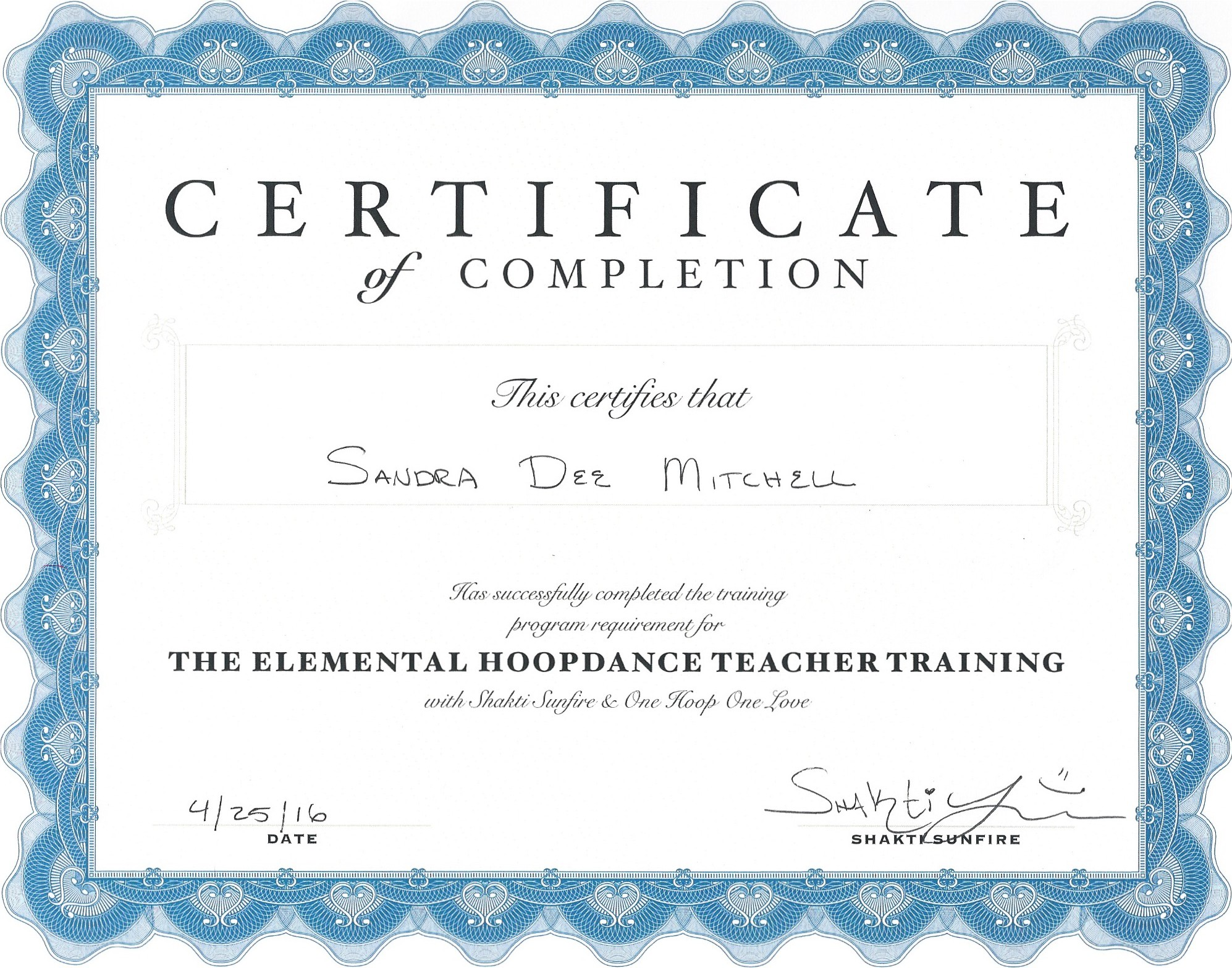 Sandra Dee's Hoop dance teacher training certificate - Hoop Flow Love, Cape Town